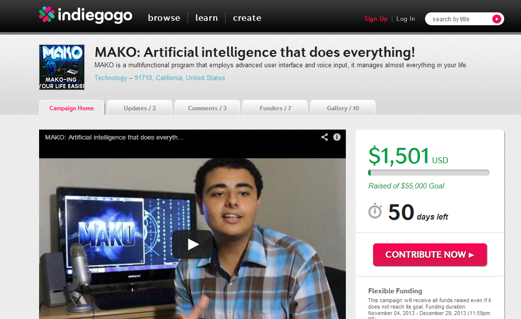 MAKO Artificial intelligence that does everything!  Indiegogo - Google Chrome_2013-11-10_11-58-32